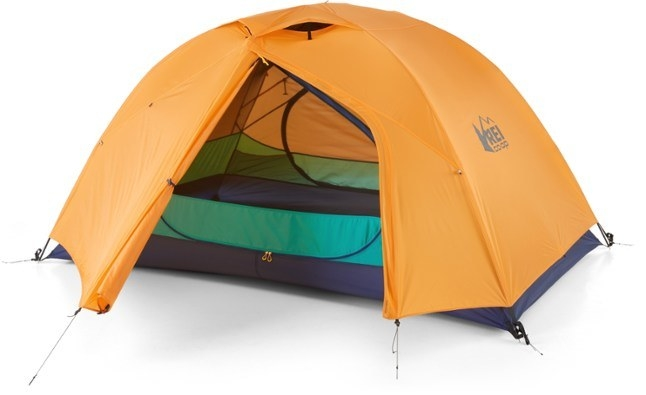 A multi-colored dome tent with double zipper doors and indoor pockets throughout the interior
