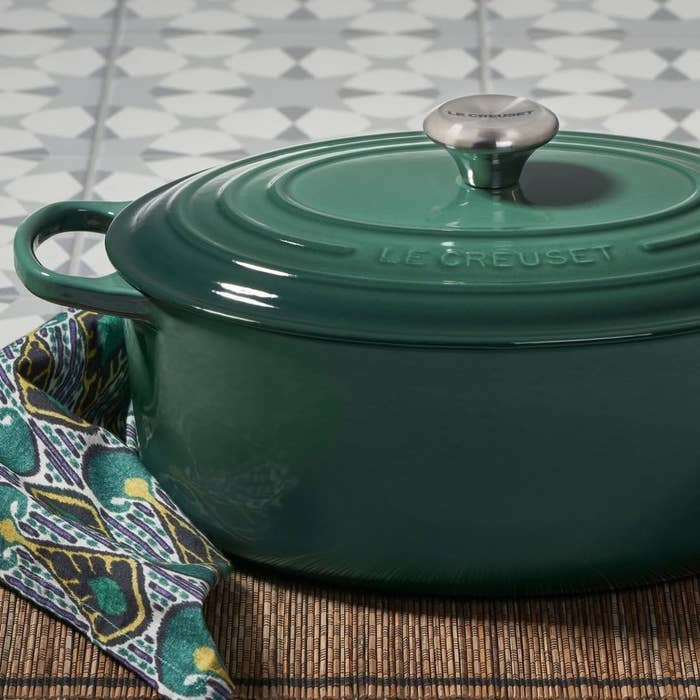 a forest green dutch oven