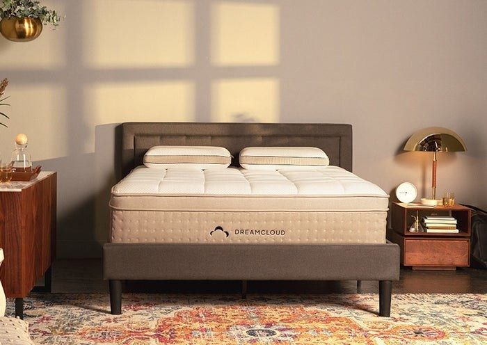DreamCloud's hybrid mattress with a plush white top