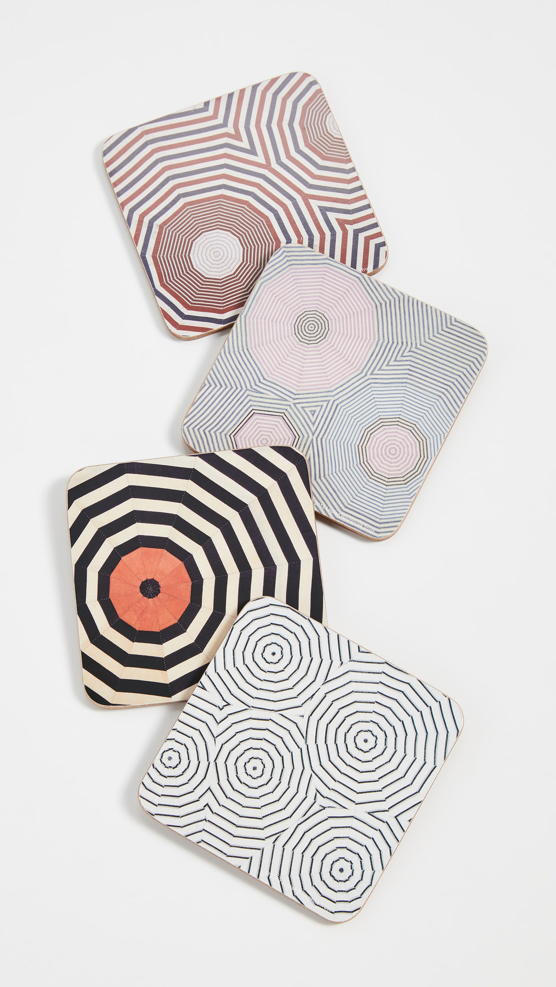 The coasters, which feature multicolored geometric prints