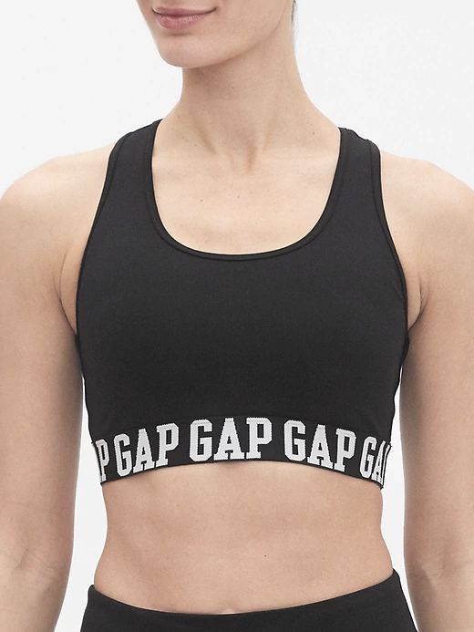 a sports bra that says gap on the elastic band