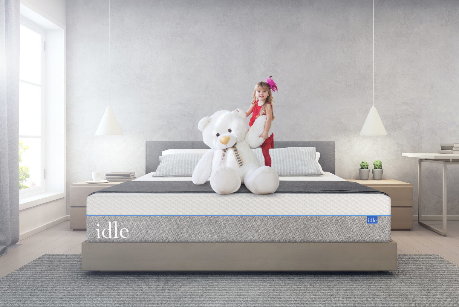 The idle mattress, plus two pillows staged in a room