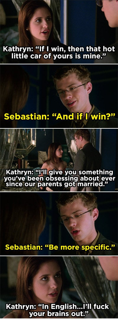 Kathryn telling Sebastian that she'll sleep with him if he wins the bet