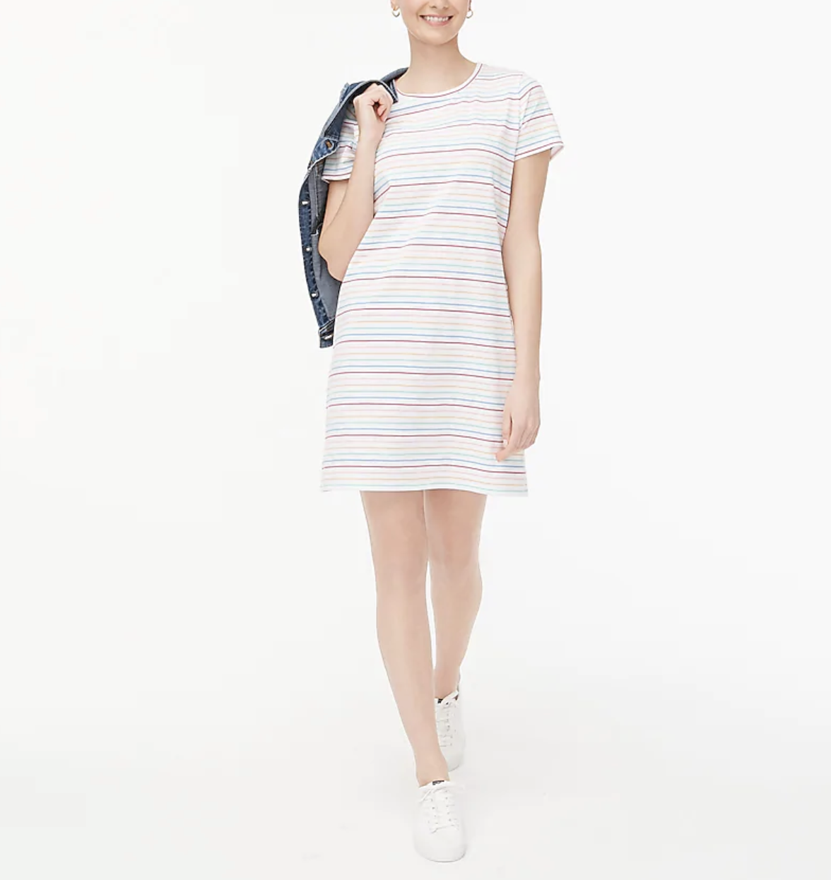 A model wears a striped short-sleeve T-shirt dress