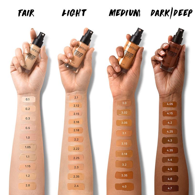 Light, medium, tan, and deep foundation shades swatched across light medium, tan, and deep, skin tones