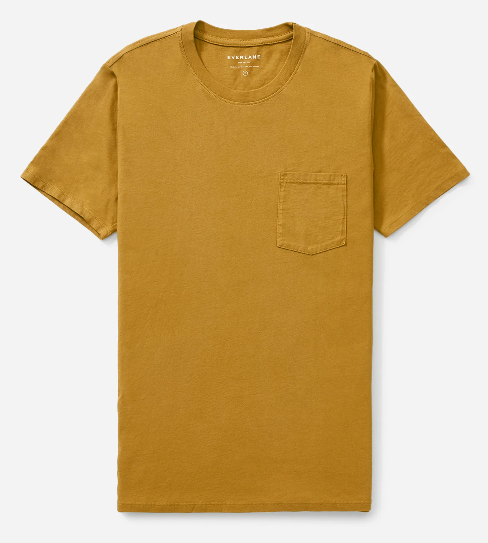 A brass-color Everlane pocket T-shirt