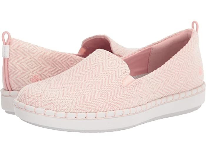 Clark Step Glow Slip with pink and white textile pattern