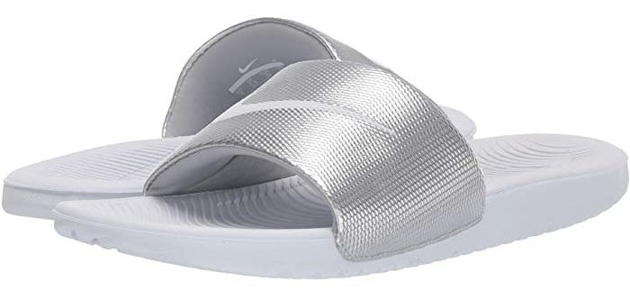 Nike Kawa slide in white and metallic silver