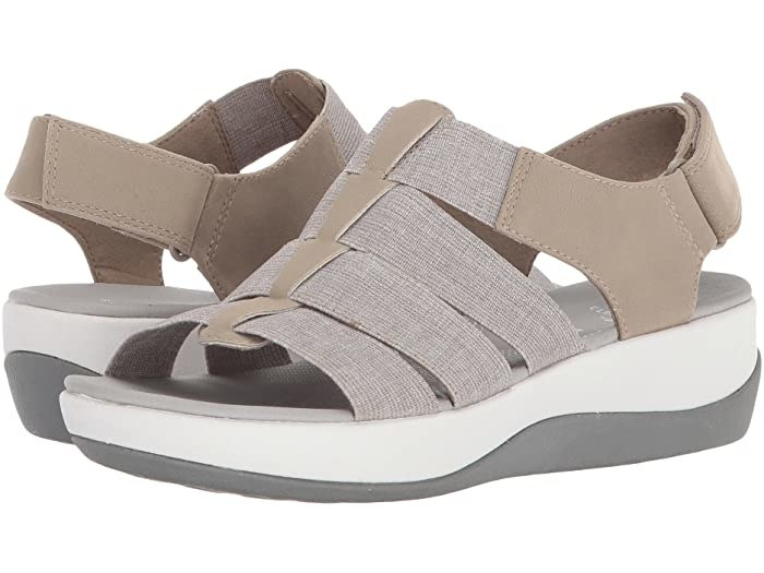 Clarks Arla Shaylie in sand/white heathered elastic