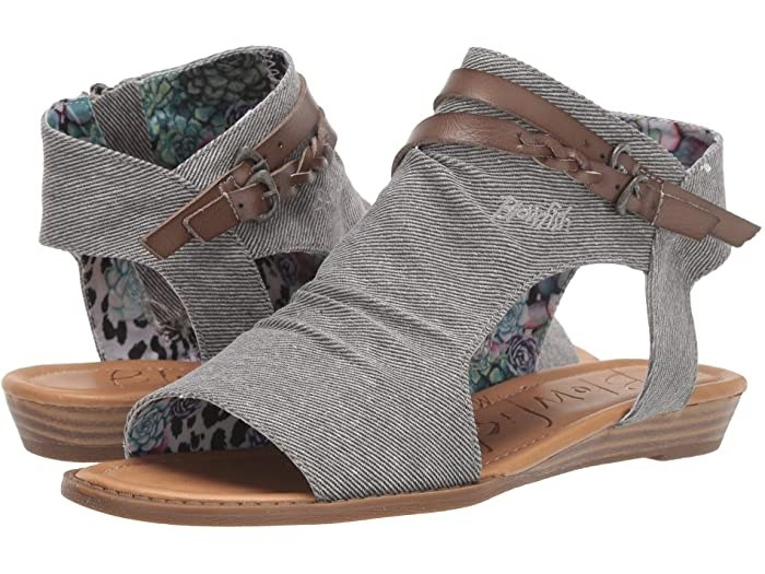 Blowfish Bluman sandal with side and front cut-outs in grey with two brown belts across the top