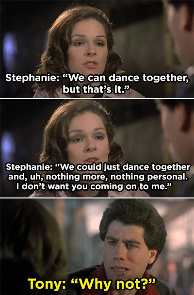 """Stephanie telling Tony she doesn't want him hitting on her and him saying """"Why not?"""""""