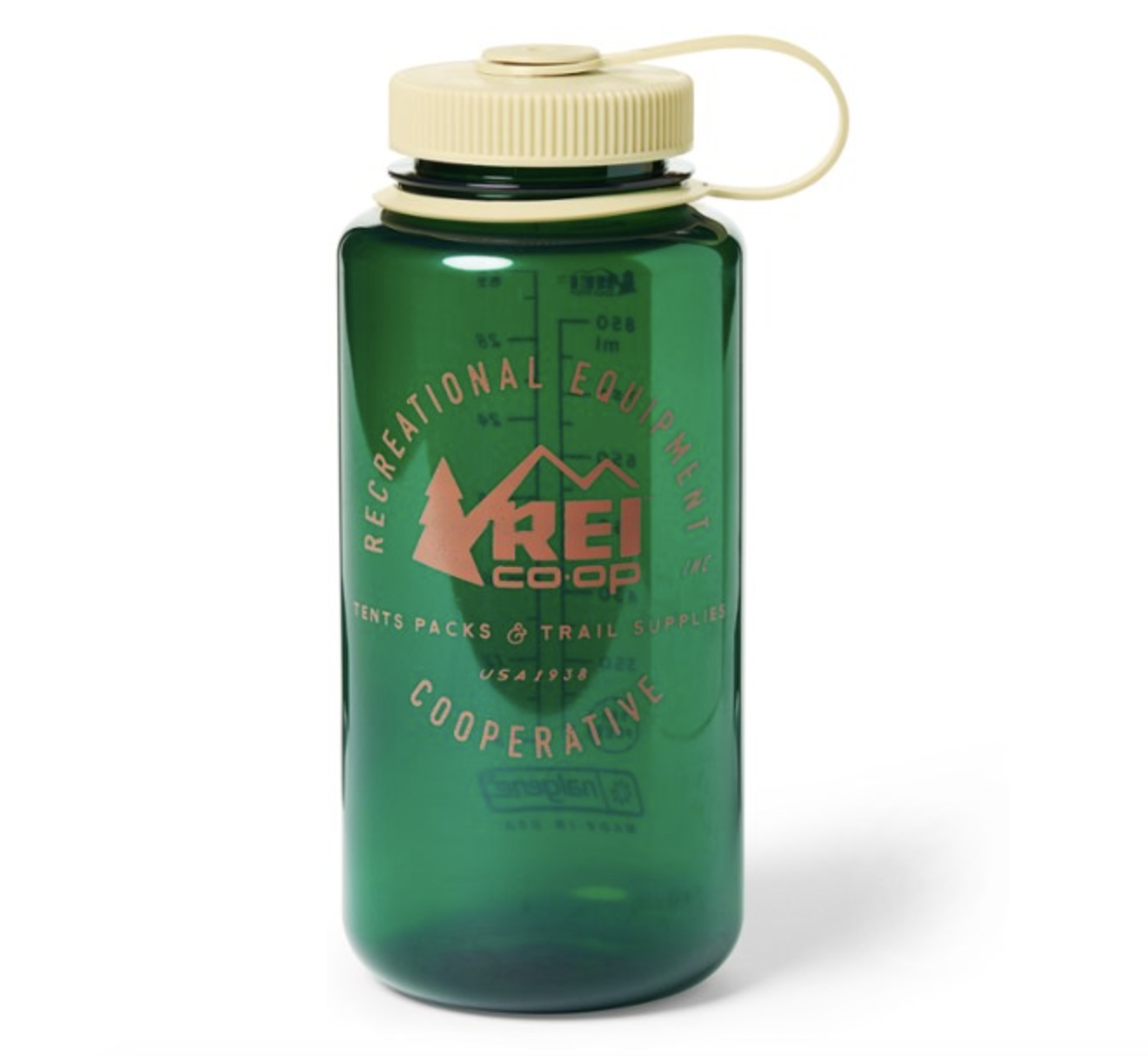 A green water bottle with a cream cap with the REI logo on it