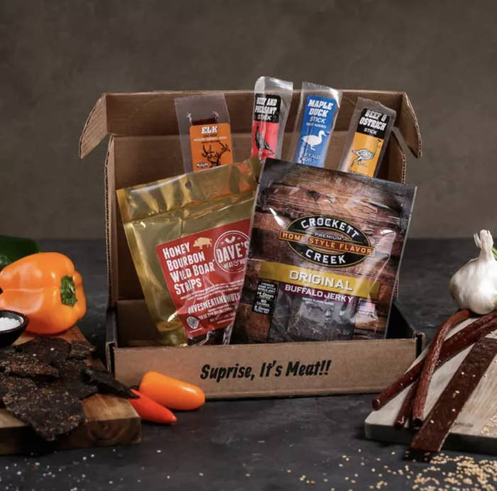 A gift box containing the different kinds of jerky