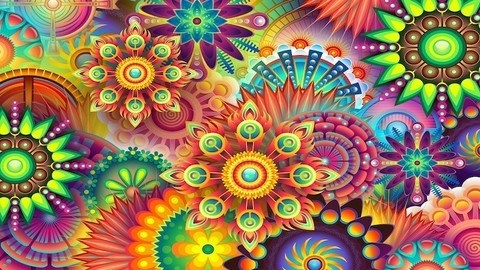 Psychedelic-styled flowers overlapping each other
