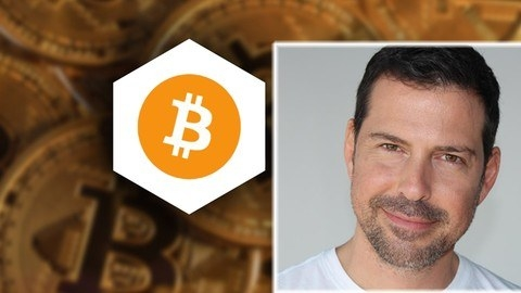 Course instructor George Levy and the Bitcoin logo