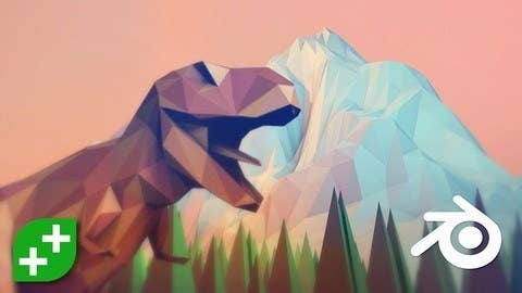 A 3D-modelled T-rex in front of a 3D-modelled mountain
