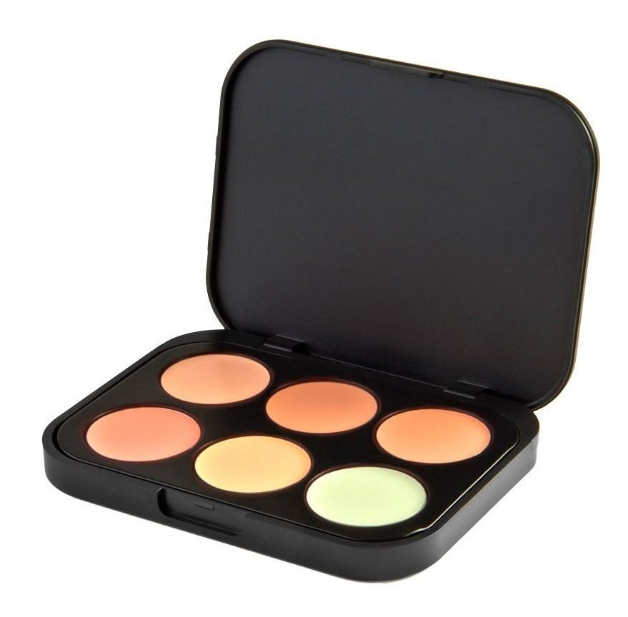 A black compact with six neutralizing product shades