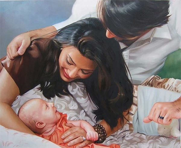 painted family photo of parents and baby