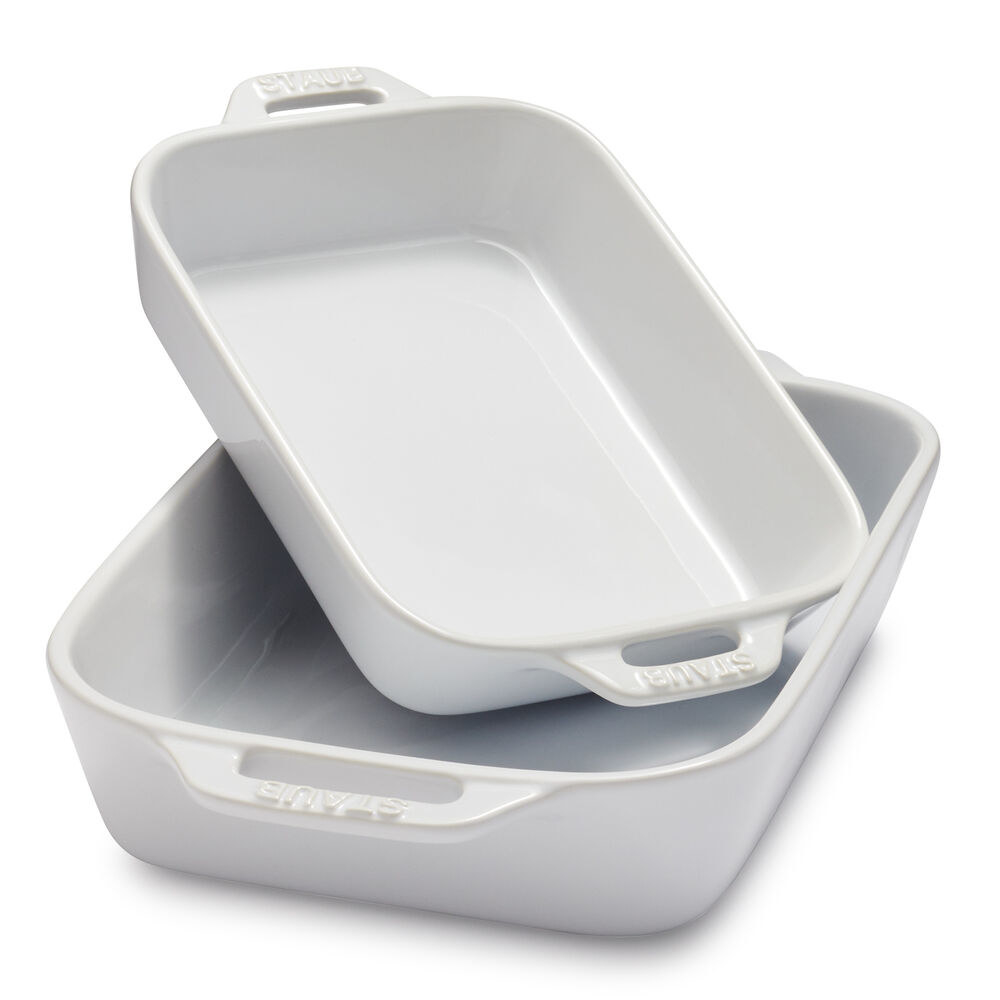 one small and one large white ceramic baking dish