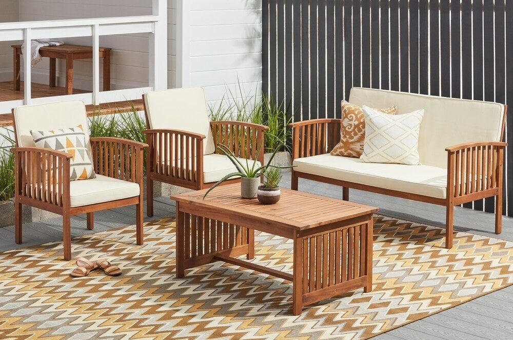 The outdoor furniture set in brown