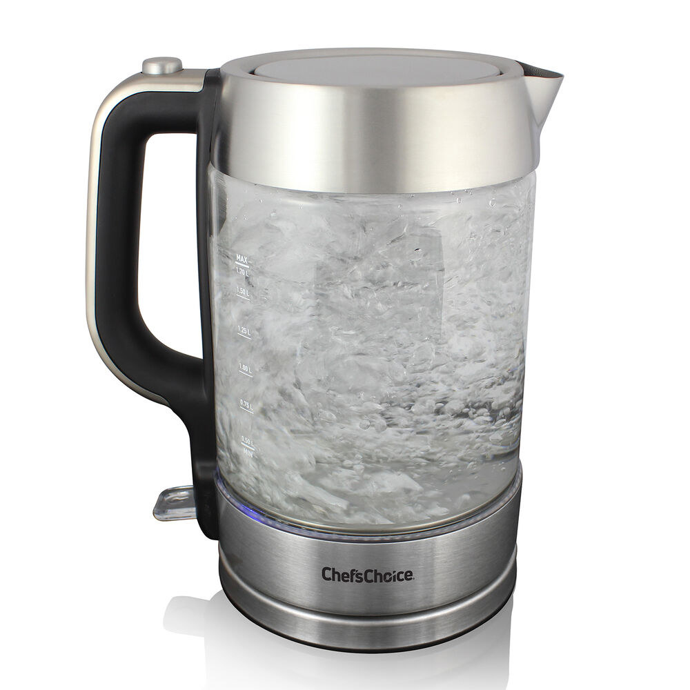 clear kettle with pour sprout and silver base
