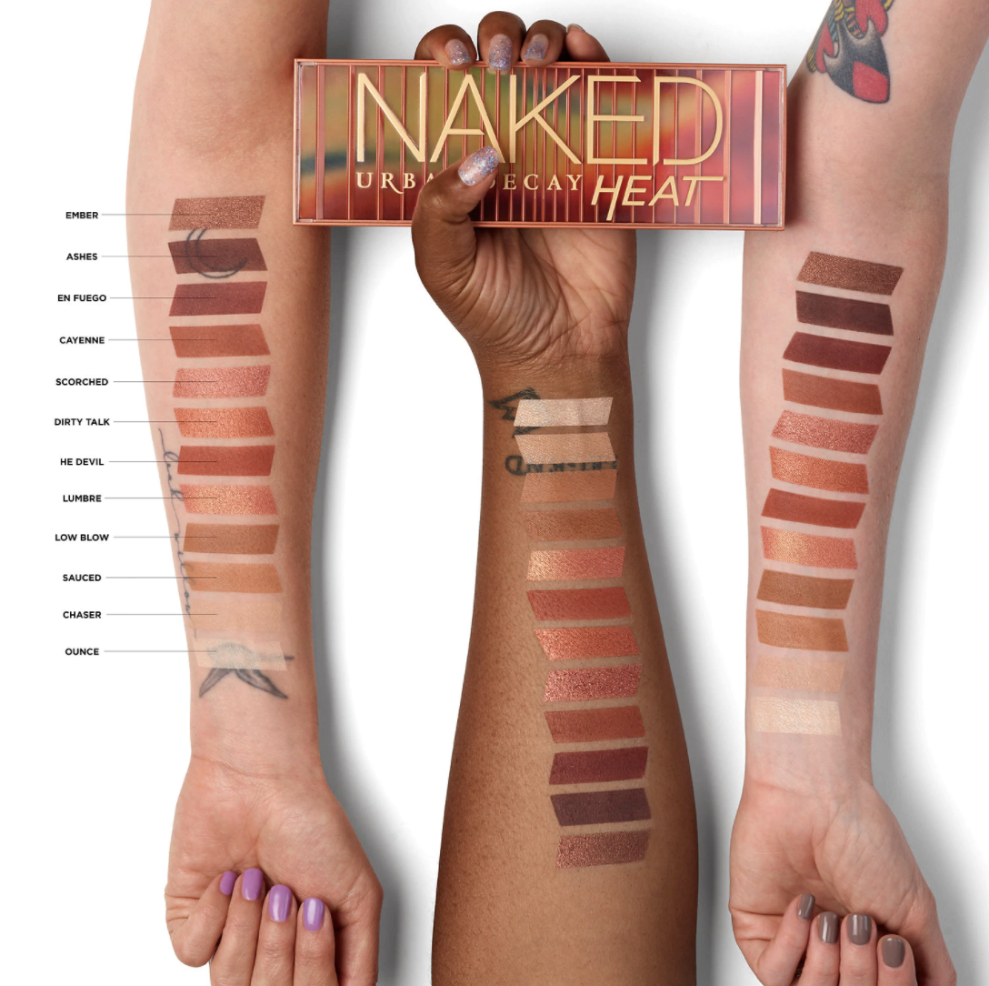 three arms showcasing all the color variations in the naked palette on different skin tones