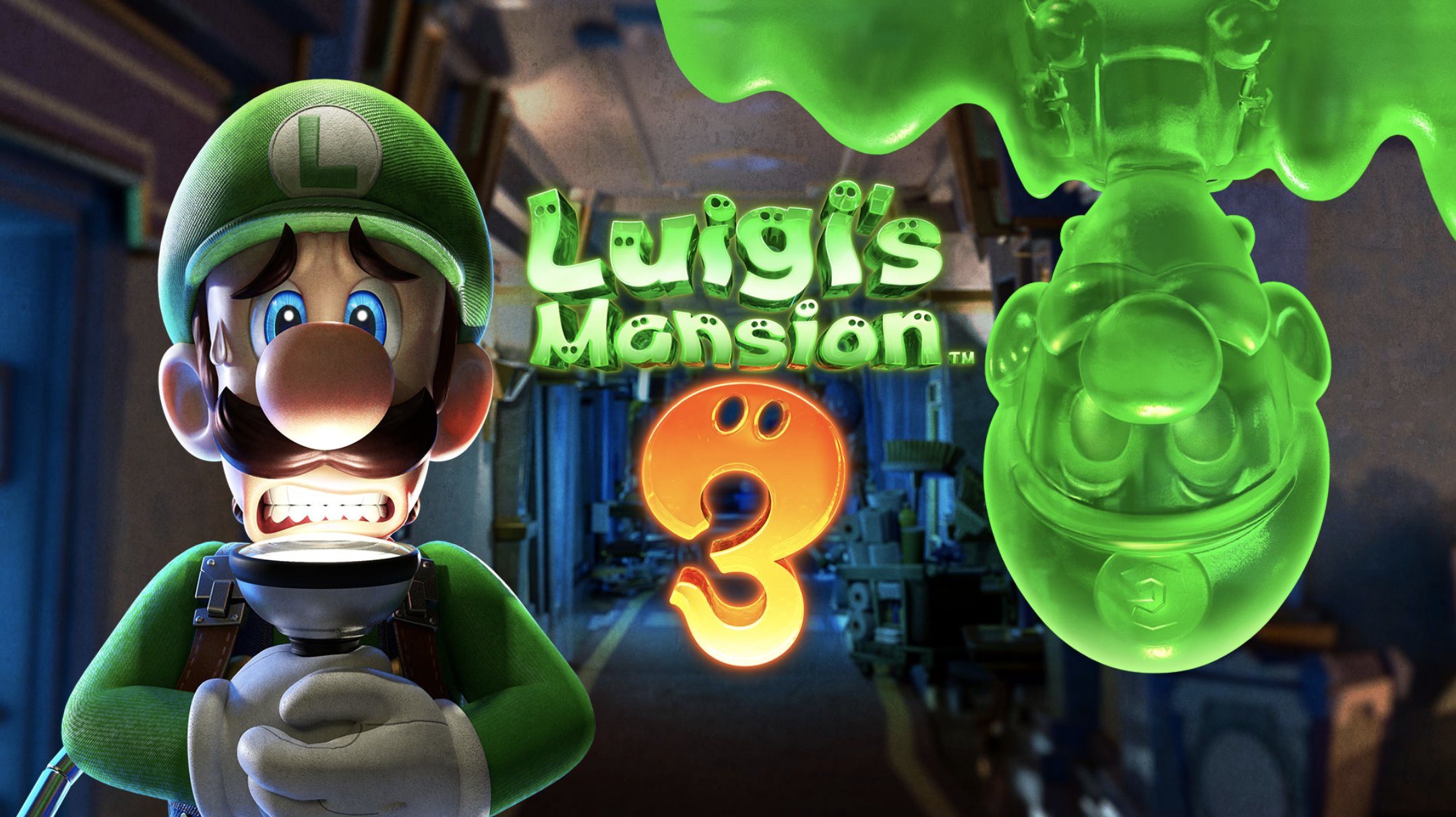 "The game logo that says ""Luigi's Mansion 3"""