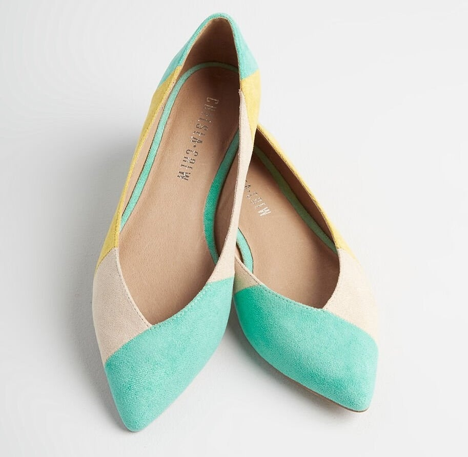 The faux-suede flats in the tan, yellow, and mint color