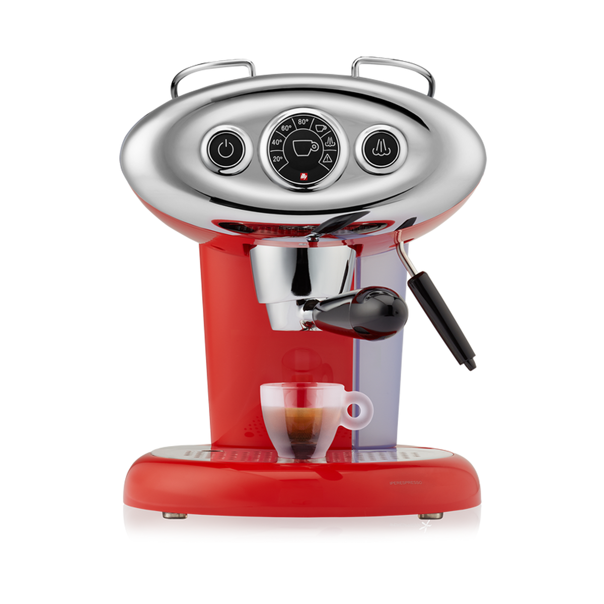 Red and chrome espresso machine with a milk steaming wand