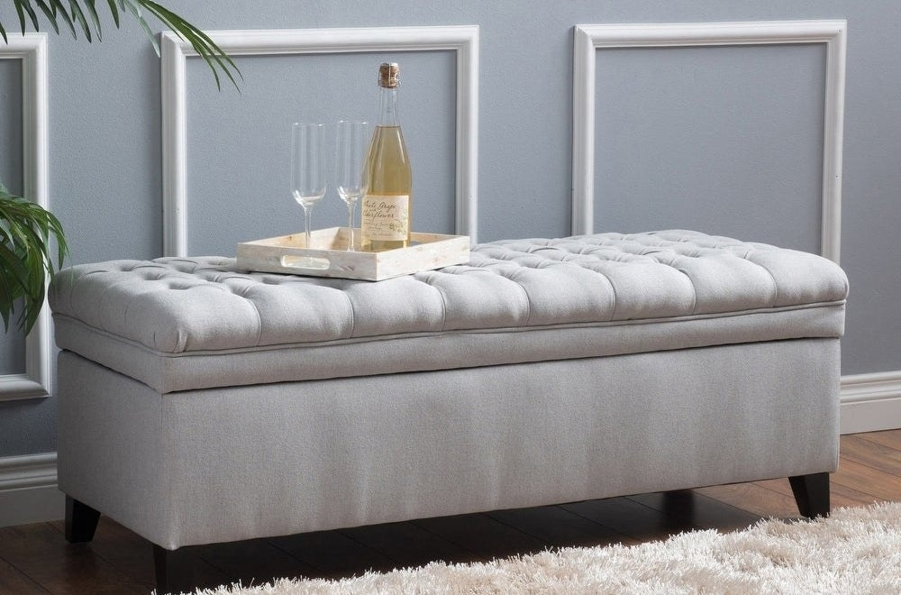 The storage ottoman bench in gray