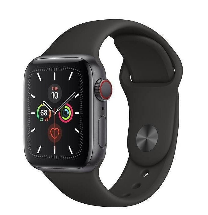 Apple Watch Series 5 in Space Gray, featuring a black silicone watch band