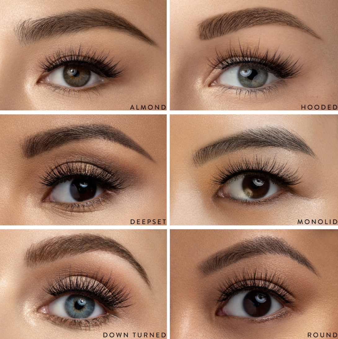 six different close ups on a single eye to show the various styles of the lashes