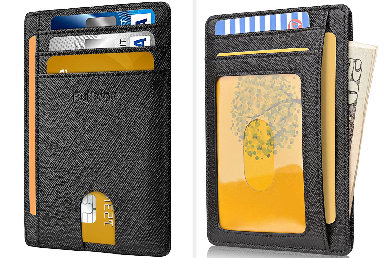 The front and back of a slim black leather wallet with credit cards and money