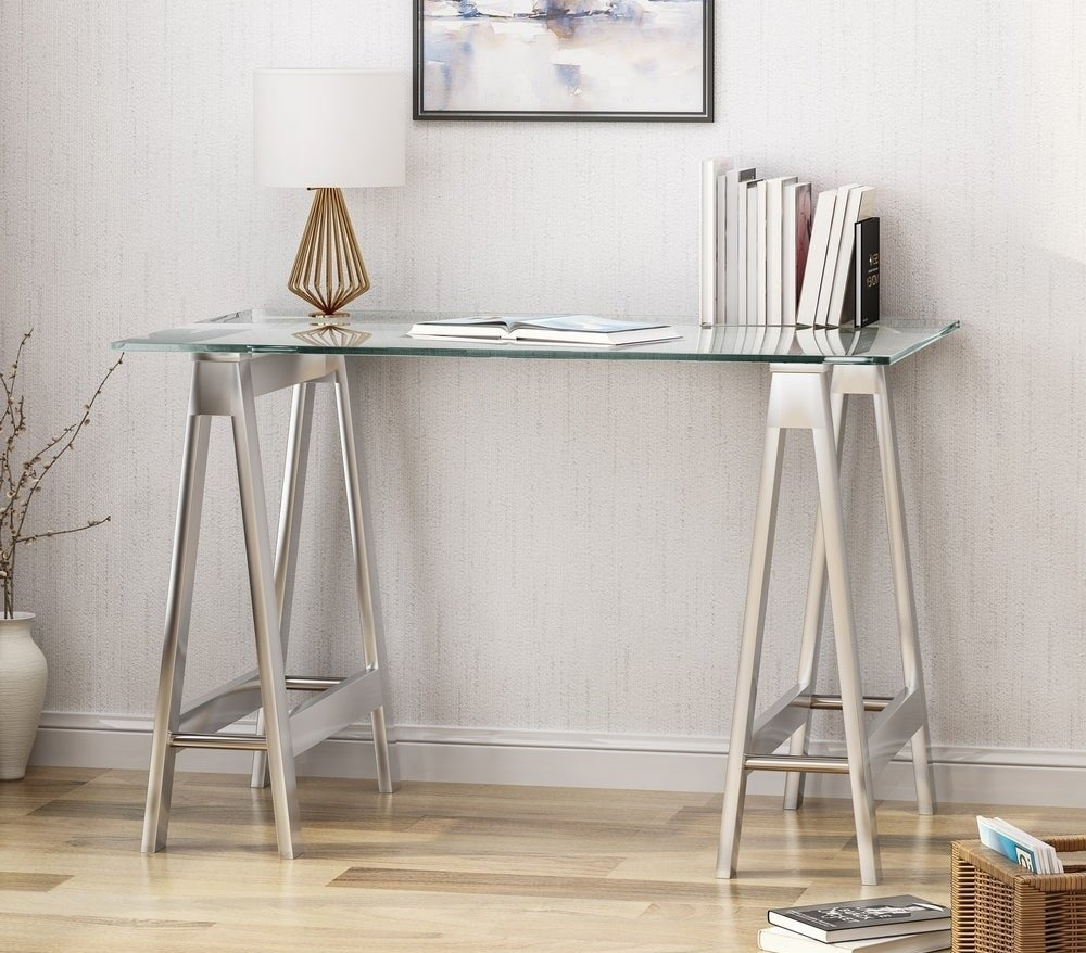 The glass top desk