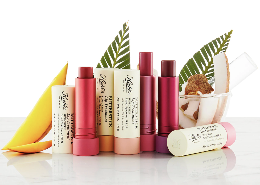 a line up of the various tubes of the lip treatment in different shades