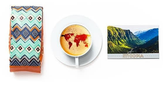 A big of coffee beans, a cup off coffee on a dish, and a postcard of Ethiopia