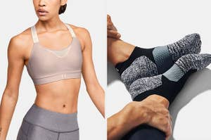 Under Armour sports bra and pair of socks