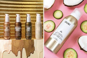 to the left is four bottles of various shades of bronzing oil, to the right is a spray bottle of ouai after sun body soother