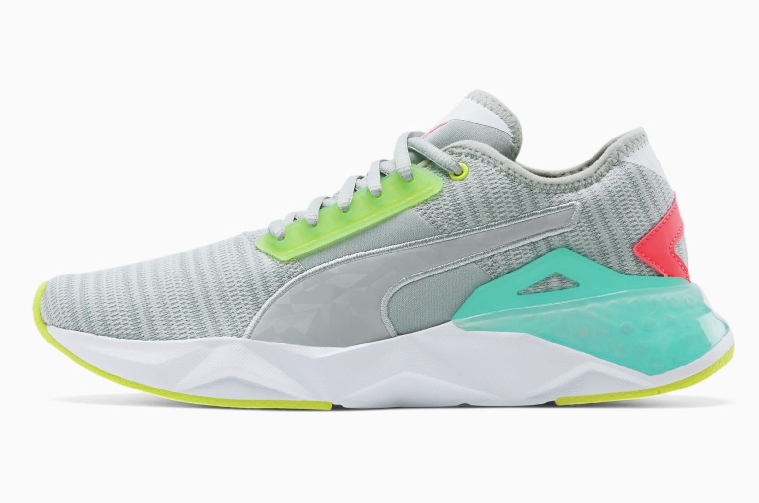 Puma's CELL Plasmic Women's Training Shoes with gray, lime green, light blue, and pink detailing