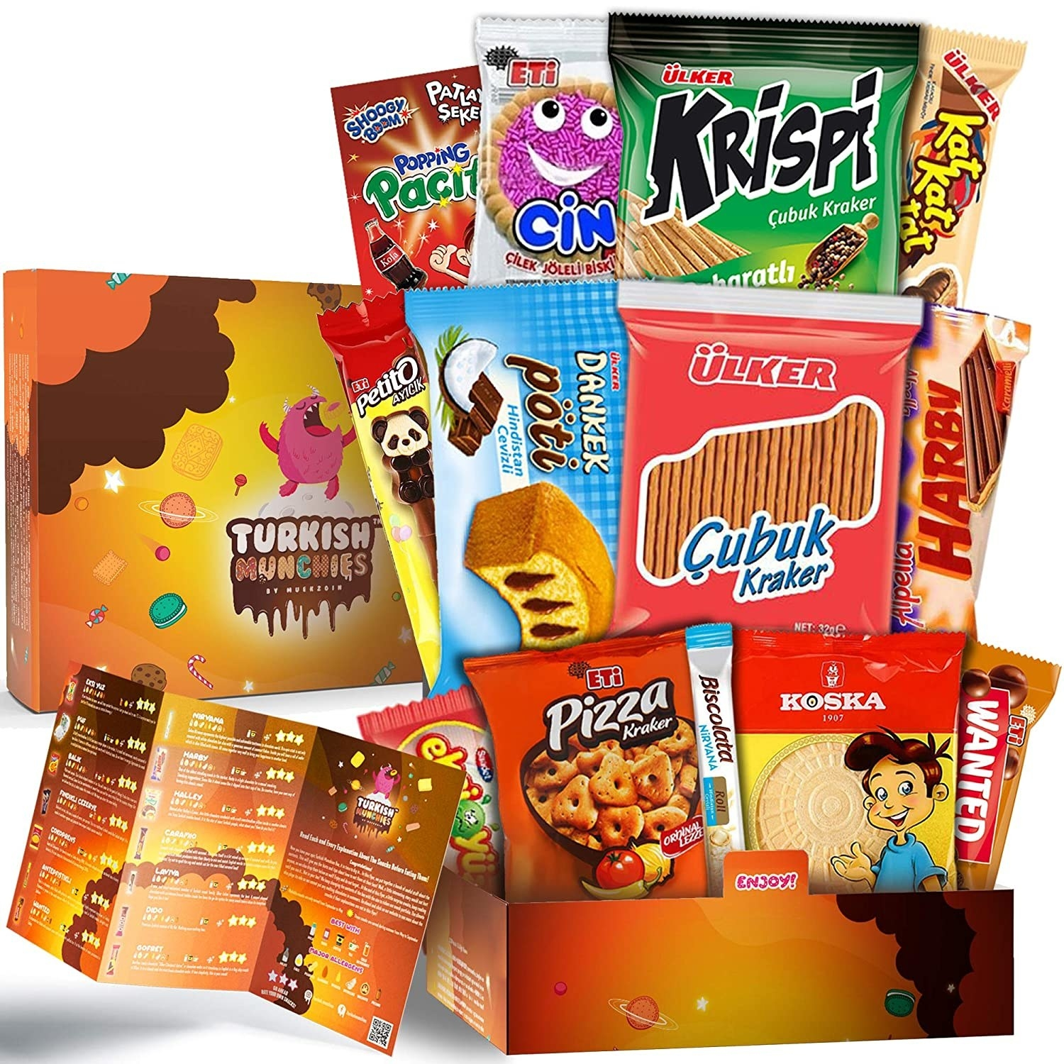 A package full of international snacks like biscuits, Turkish Munchies, and chocolates