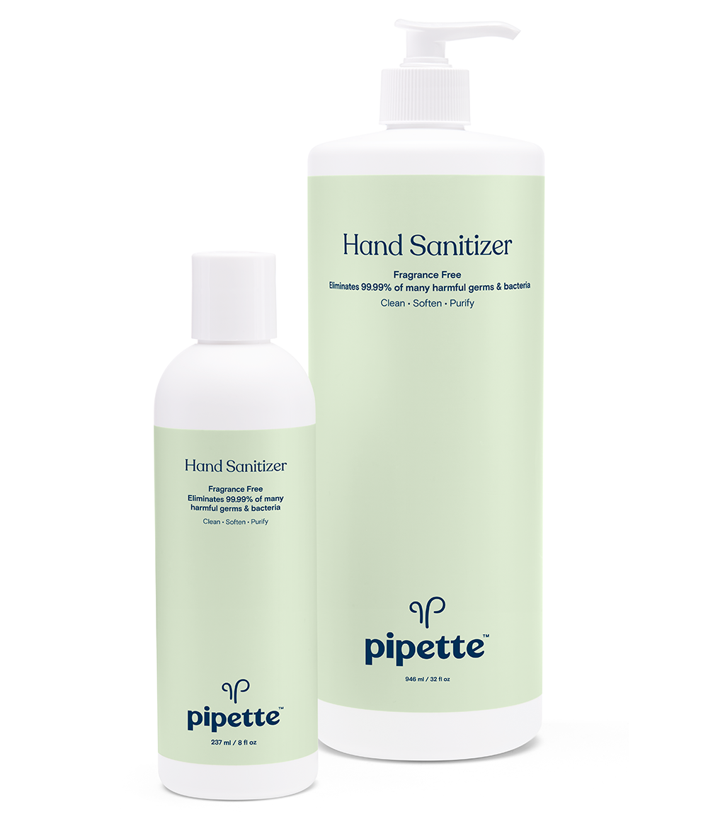 The small and large-sized bottles of Pipette's hand sanitizer.