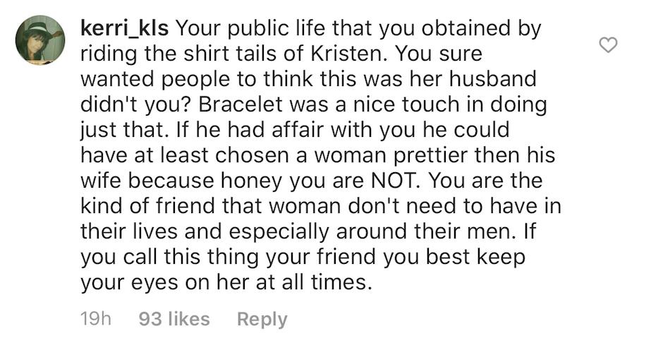 Instagram comment from a Kristin Cavallari fan to her former best friend, Kelly Henderson