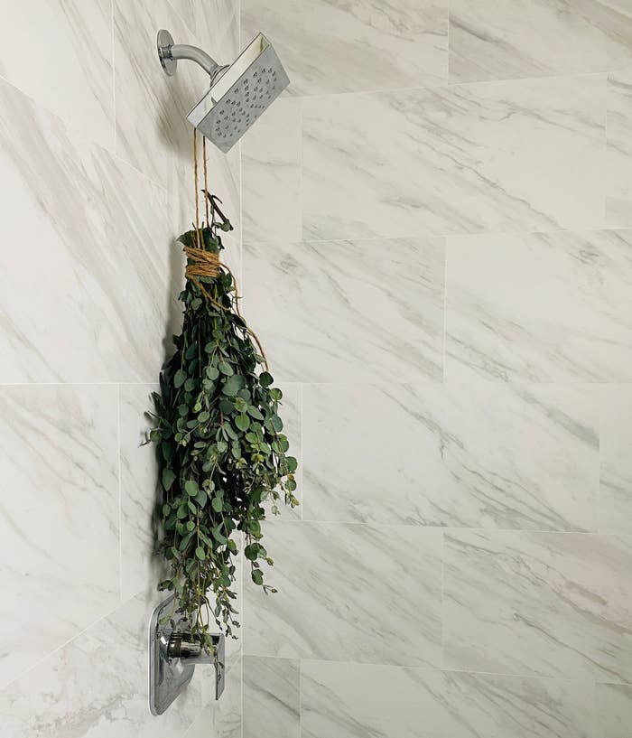 twine-wrapped eucalyptus hanging from shower head