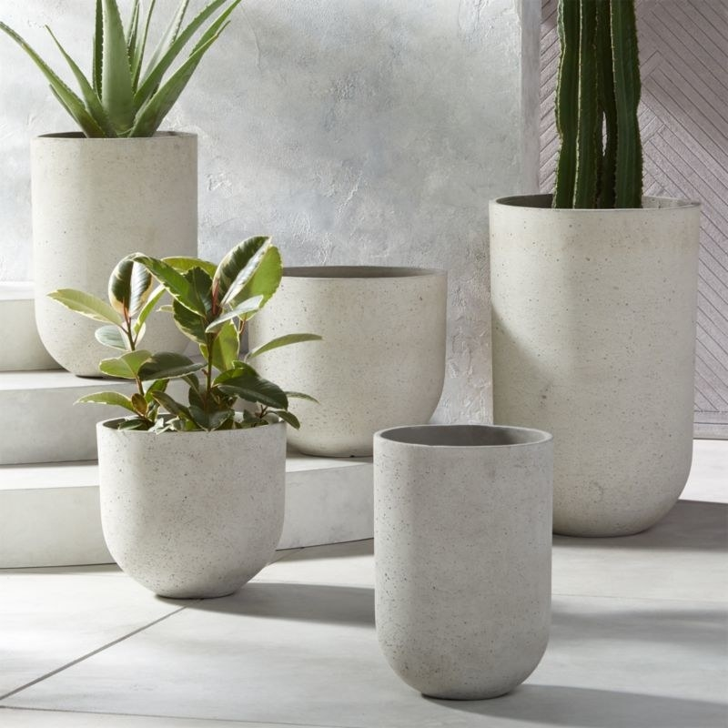 An array of grey planters