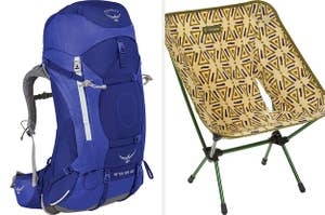 Side by side of blue backpack and yellow foldable chair