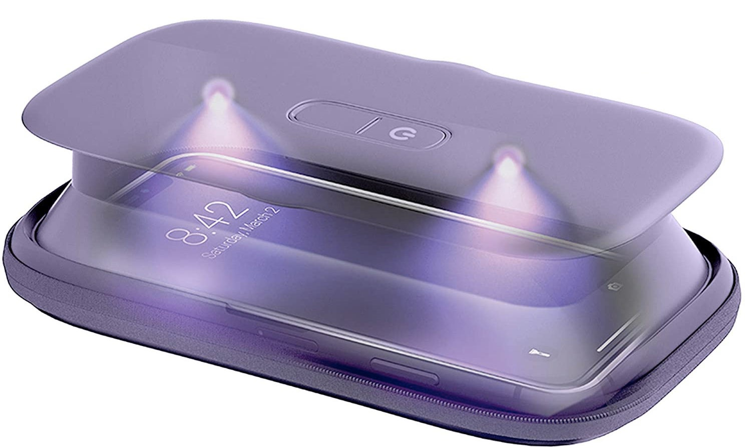 Phone-shaped box popped up to be a couple inches high, with outside power button and two interior UV lamps