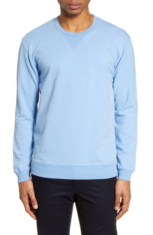 Model wearing crewneck sweatshirt in light blue