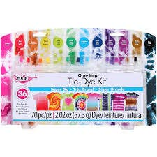 A tie dye kit featuring dozens of colors.