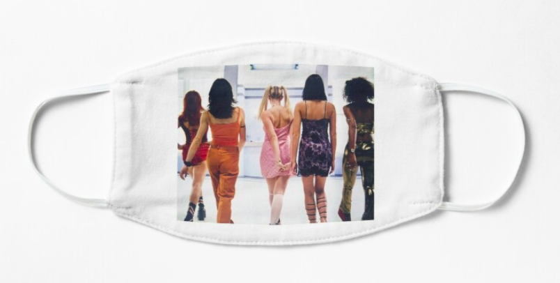A white non-medical face mask with a picture of the Spice Girls printed on it