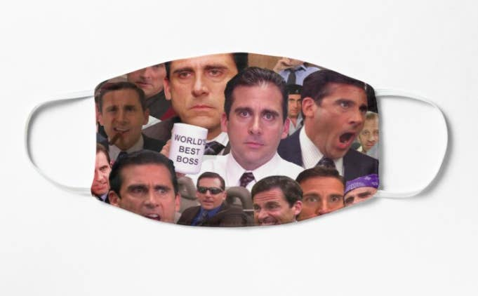 A non-medical mask with various funny pictures of Michael Scott from The Office